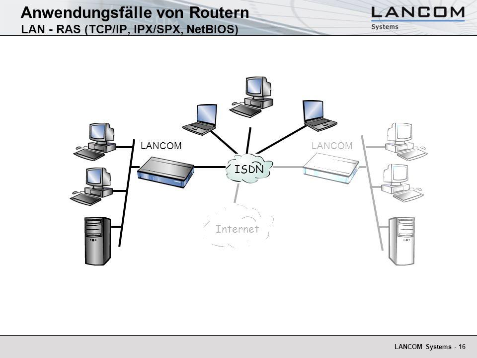 LANCOM Systems - 16 Anwendungsfälle von Routern LAN - RAS (TCP/IP, IPX/SPX, NetBIOS) Inte rnet LANCOM ISDN