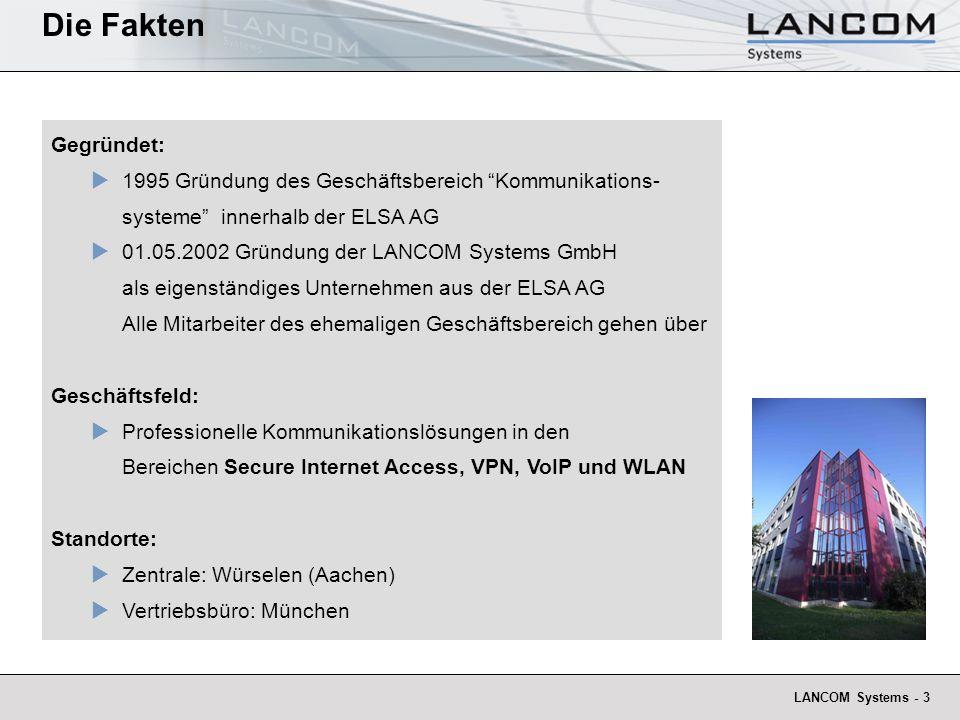 LANCOM Systems - 3 Gegründet: 1995 Gründung des Geschäftsbereich Kommunikations- systeme innerhalb der ELSA AG 01.05.2002 Gründung der LANCOM Systems GmbH als eigenständiges Unternehmen aus der ELSA AG Alle Mitarbeiter des ehemaligen Geschäftsbereich gehen über Geschäftsfeld: Professionelle Kommunikationslösungen in den Bereichen Secure Internet Access, VPN, VoIP und WLAN Standorte: Zentrale: Würselen (Aachen) Vertriebsbüro: München Die Fakten