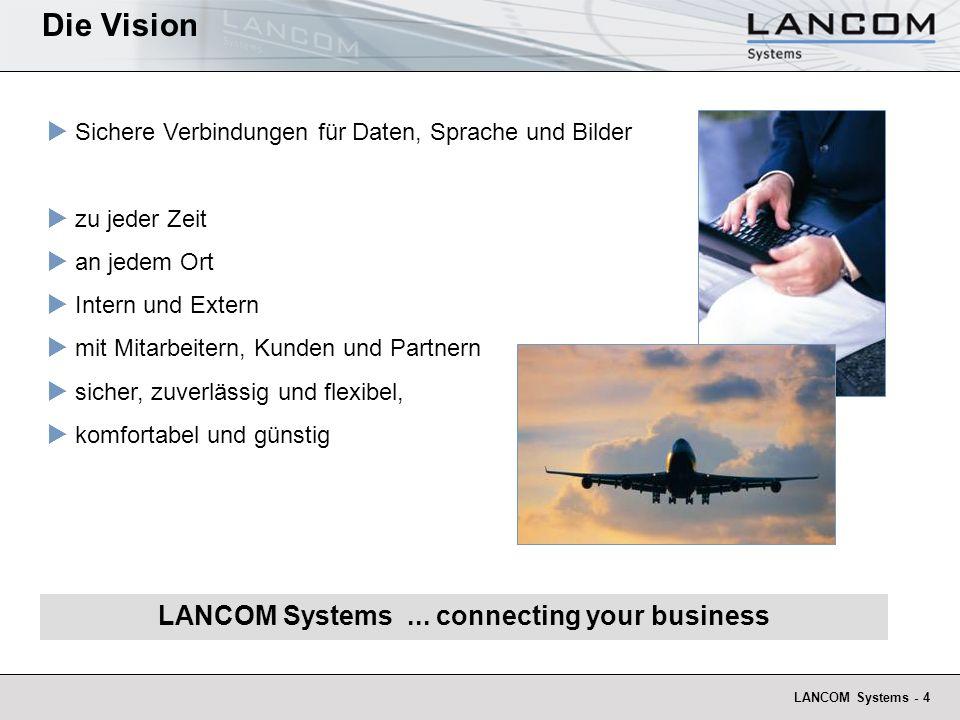 LANCOM Systems - 4 Sichere Verbindungen für Daten, Sprache und Bilder zu jeder Zeit an jedem Ort Intern und Extern mit Mitarbeitern, Kunden und Partnern sicher, zuverlässig und flexibel, komfortabel und günstig LANCOM Systems...