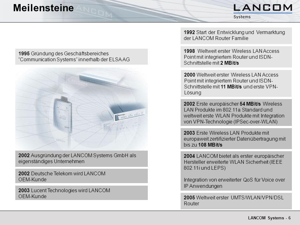 LANCOM Systems - 6 1992 Start der Entwicklung und Vermarktung der LANCOM Router Familie 1995 Gründung des Geschäftsbereiches Communication Systems inn