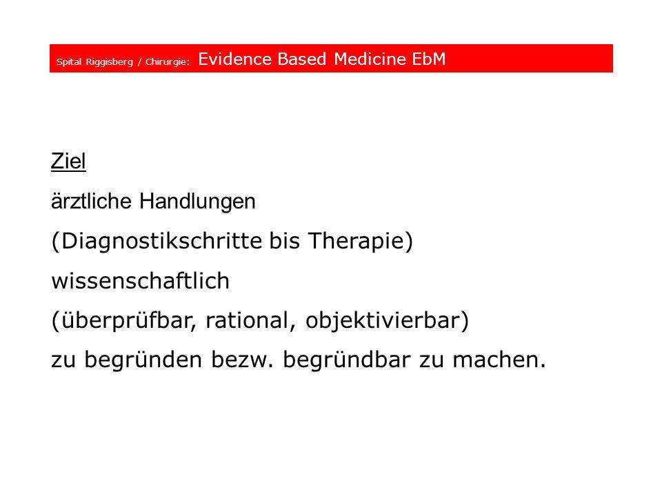Spital Riggisberg / Chirurgie: Evidence Based Medicine EbM Ziel ärztliche Handlungen (Diagnostikschritte bis Therapie) wissenschaftlich (überprüfbar,