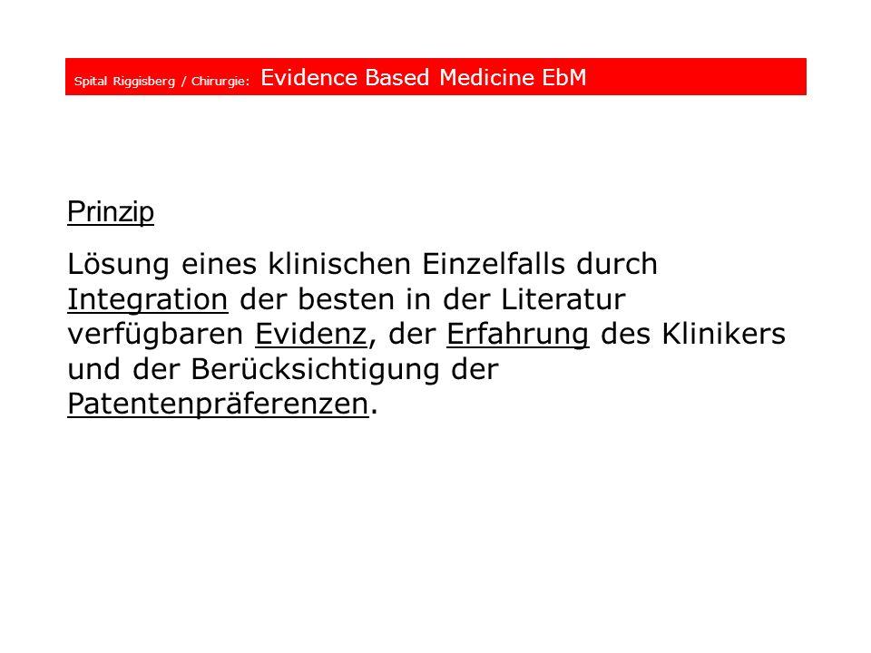 Spital Riggisberg / Chirurgie: Evidence Based Medicine EbM Prinzip Lösung eines klinischen Einzelfalls durch Integration der besten in der Literatur v