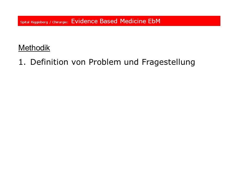 Spital Riggisberg / Chirurgie: Evidence Based Medicine EbM Methodik 1.Definition von Problem und Fragestellung