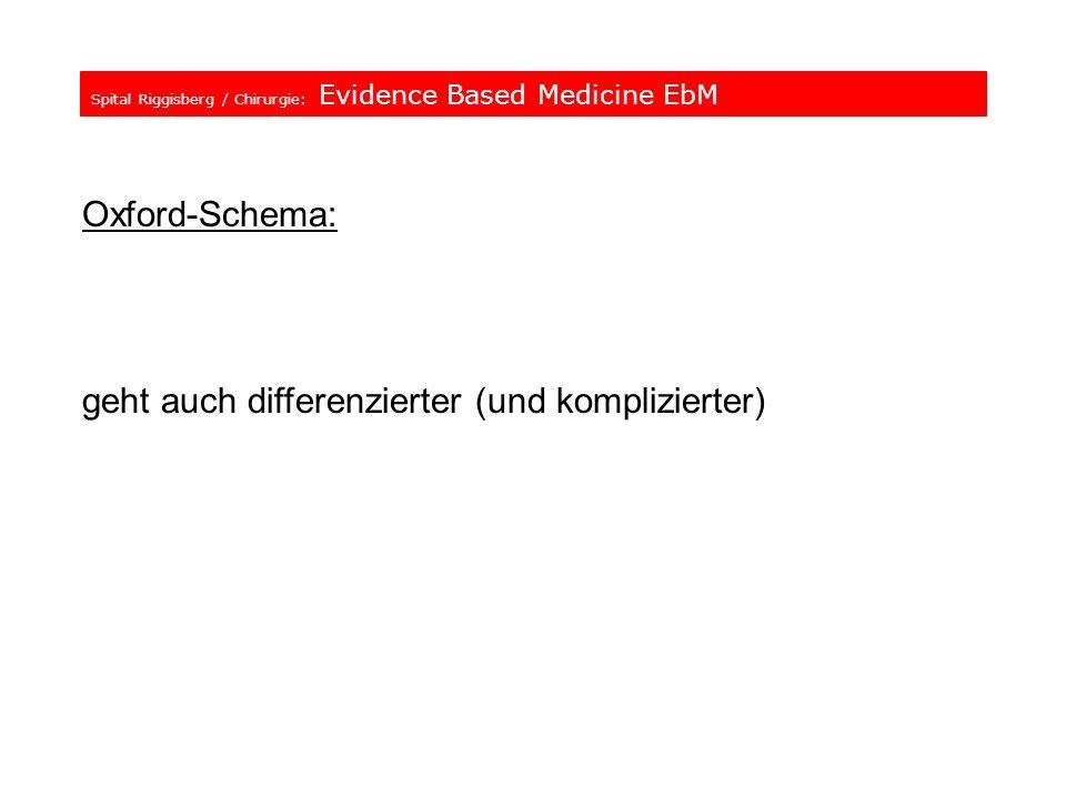 Spital Riggisberg / Chirurgie: Evidence Based Medicine EbM Oxford-Schema: geht auch differenzierter (und komplizierter)