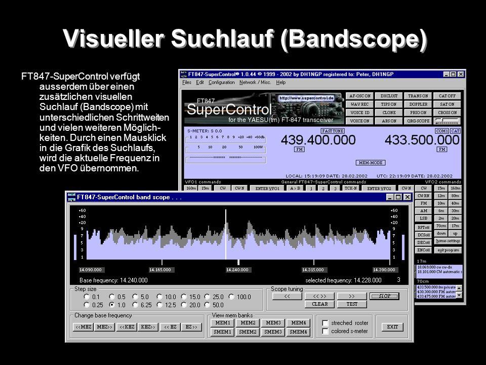 Visueller Suchlauf (Bandscope) FT847-SuperControl verfügt ausserdem über einen zusätzlichen visuellen Suchlauf (Bandscope) mit unterschiedlichen Schri