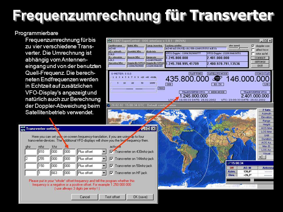Frequenzumrechnung für Transverter Programmierbare Frequenzumrechnung für bis zu vier verschiedene Trans- verter. Die Umrechnung ist abhängig vom Ante