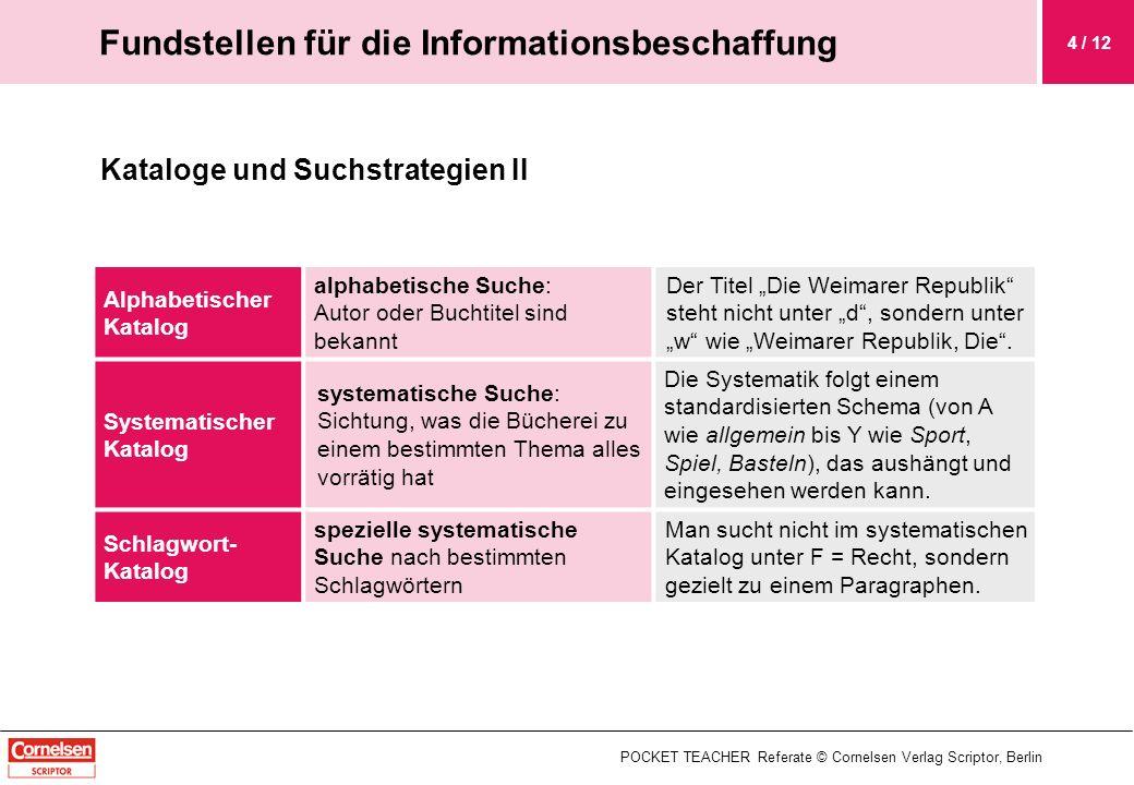 Kataloge und Suchstrategien II POCKET TEACHER Referate © Cornelsen Verlag Scriptor, Berlin Fundstellen für die Informationsbeschaffung 4 / 12 Alphabet