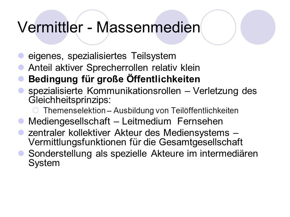 Vermittler - Massenmedien eigenes, spezialisiertes Teilsystem Anteil aktiver Sprecherrollen relativ klein Bedingung für große Öffentlichkeiten spezial