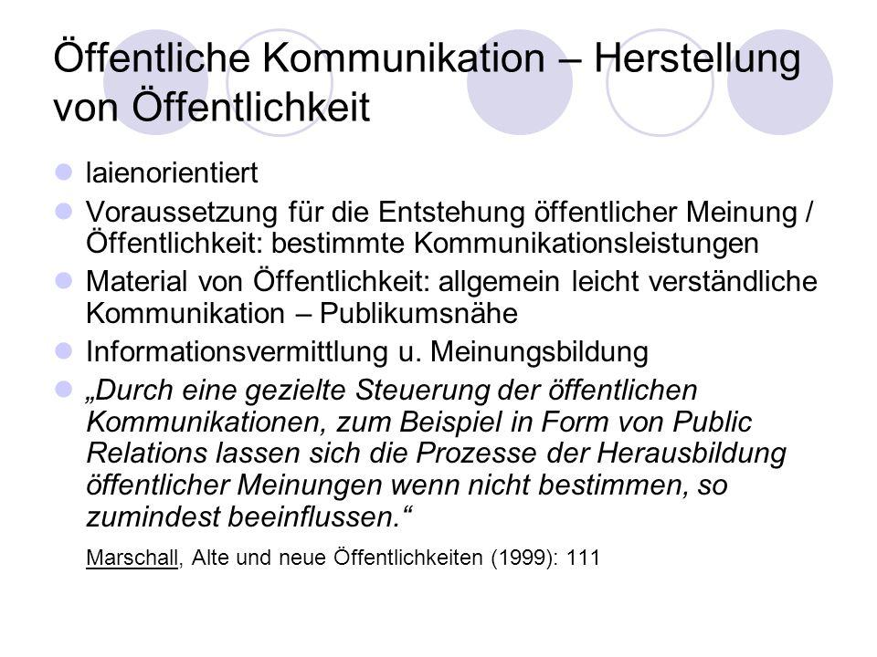 Öffentliche Kommunikation – Herstellung von Öffentlichkeit laienorientiert Voraussetzung für die Entstehung öffentlicher Meinung / Öffentlichkeit: bes