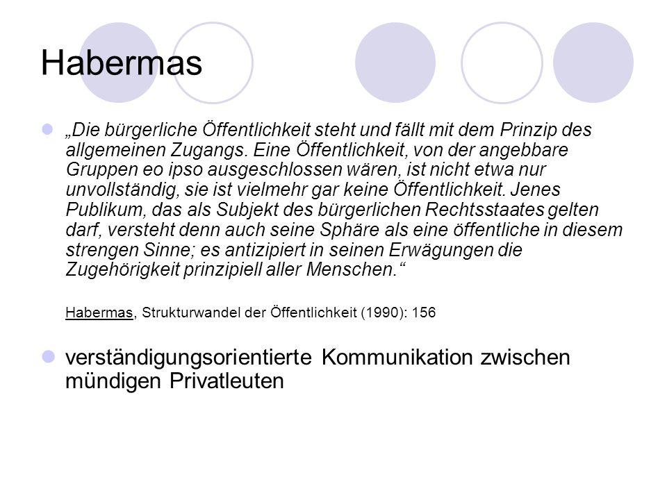 Habermas Die bürgerliche Öffentlichkeit steht und fällt mit dem Prinzip des allgemeinen Zugangs. Eine Öffentlichkeit, von der angebbare Gruppen eo ips