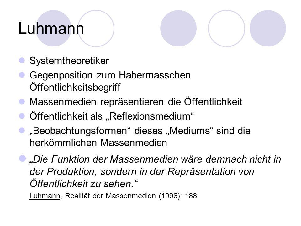 Luhmann Systemtheoretiker Gegenposition zum Habermasschen Öffentlichkeitsbegriff Massenmedien repräsentieren die Öffentlichkeit Öffentlichkeit als Ref
