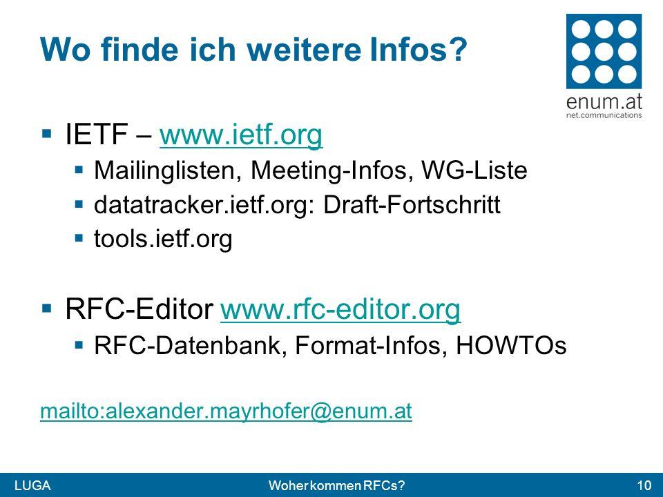 LUGAWoher kommen RFCs?10 Wo finde ich weitere Infos? IETF – www.ietf.orgwww.ietf.org Mailinglisten, Meeting-Infos, WG-Liste datatracker.ietf.org: Draf
