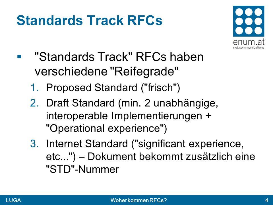 LUGAWoher kommen RFCs 4 Standards Track RFCs Standards Track RFCs haben verschiedene Reifegrade 1.Proposed Standard ( frisch ) 2.Draft Standard (min.