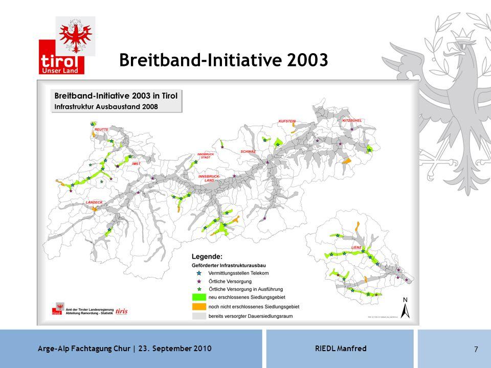 Arge-Alp Fachtagung Chur | 23. September 2010RIEDL Manfred 7 Breitband-Initiative 2003