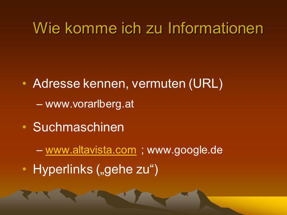 Wie komme ich zu Informationen Adresse kennen, vermuten (URL) –www.vorarlberg.at Suchmaschinen –www.altavista.com ; www.google.dewww.altavista.com Hyperlinks (gehe zu)
