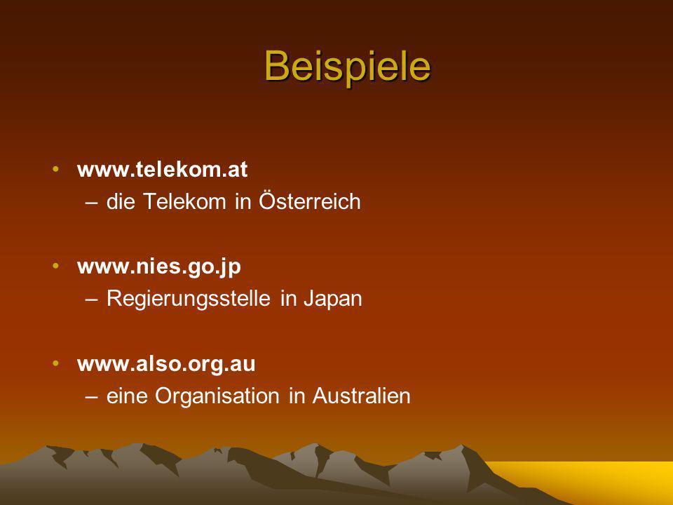 Beispiele www.telekom.at –die Telekom in Österreich www.nies.go.jp –Regierungsstelle in Japan www.also.org.au –eine Organisation in Australien