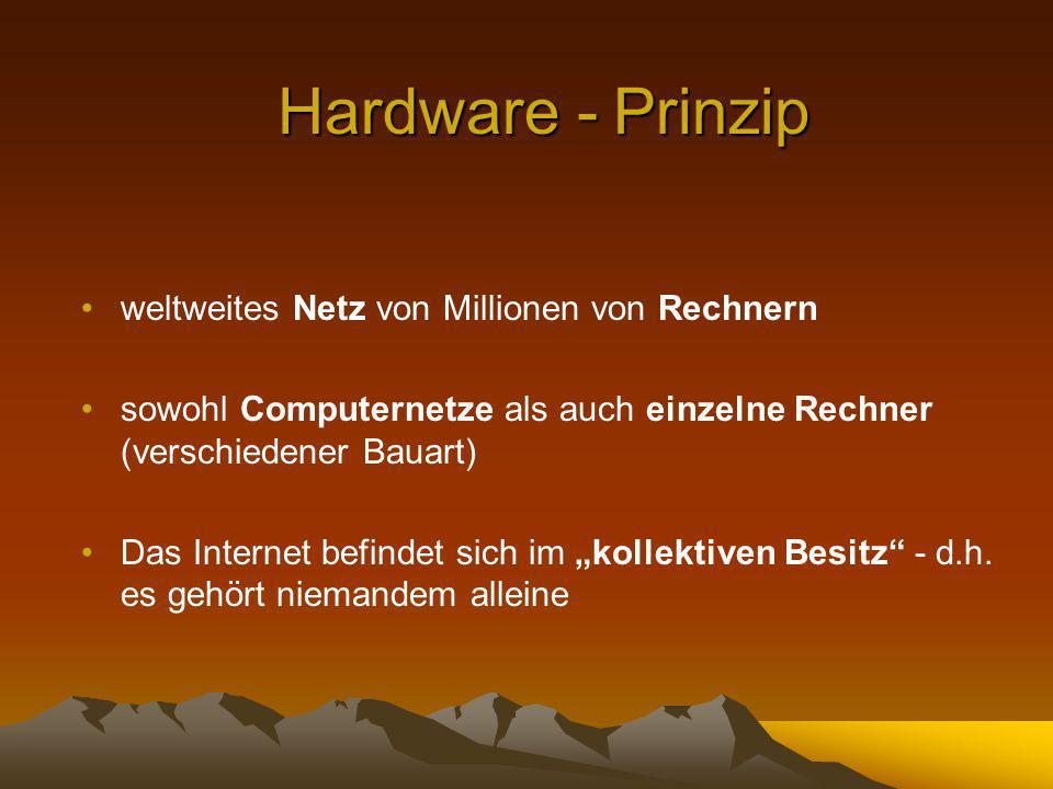 weltweites Netz von Millionen von Rechnern sowohl Computernetze als auch einzelne Rechner (verschiedener Bauart) Das Internet befindet sich im kollektiven Besitz - d.h.