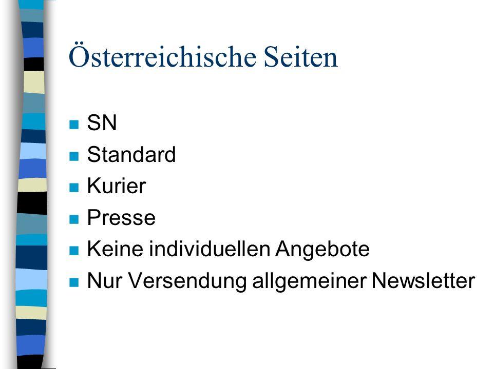 Österreichische Seiten n SN n Standard n Kurier n Presse n Keine individuellen Angebote n Nur Versendung allgemeiner Newsletter