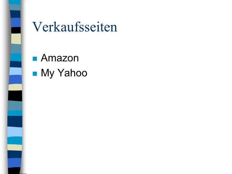 Verkaufsseiten n Amazon n My Yahoo