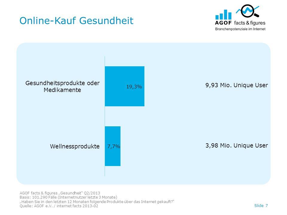 Online-Info UND -Kauf Gesundheit AGOF facts & figures Gesundheit Q2/2013 Basis: 101.290 Fälle (Internetnutzer letzte 3 Monate) Zu welchen der nachfolgenden Produkte haben Sie schon einmal Informationen im Internet gesucht.