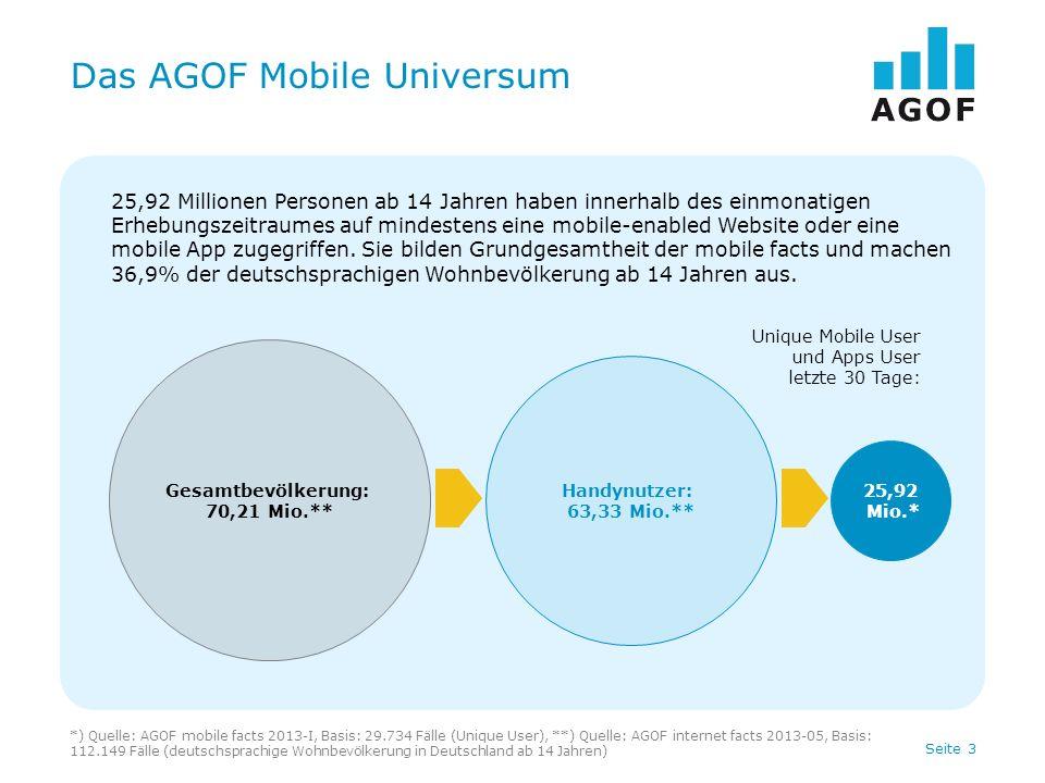Seite 4 Nutzer des AGOF Mobile-Universums Basis: 29.734 Fälle (Unique User) Quelle: AGOF mobile facts 2013-I Keine Nutzung AGOF Angebote: 29,5% 7,64 Mio.