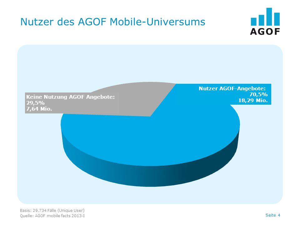 Seite 4 Nutzer des AGOF Mobile-Universums Basis: 29.734 Fälle (Unique User) Quelle: AGOF mobile facts 2013-I Keine Nutzung AGOF Angebote: 29,5% 7,64 M
