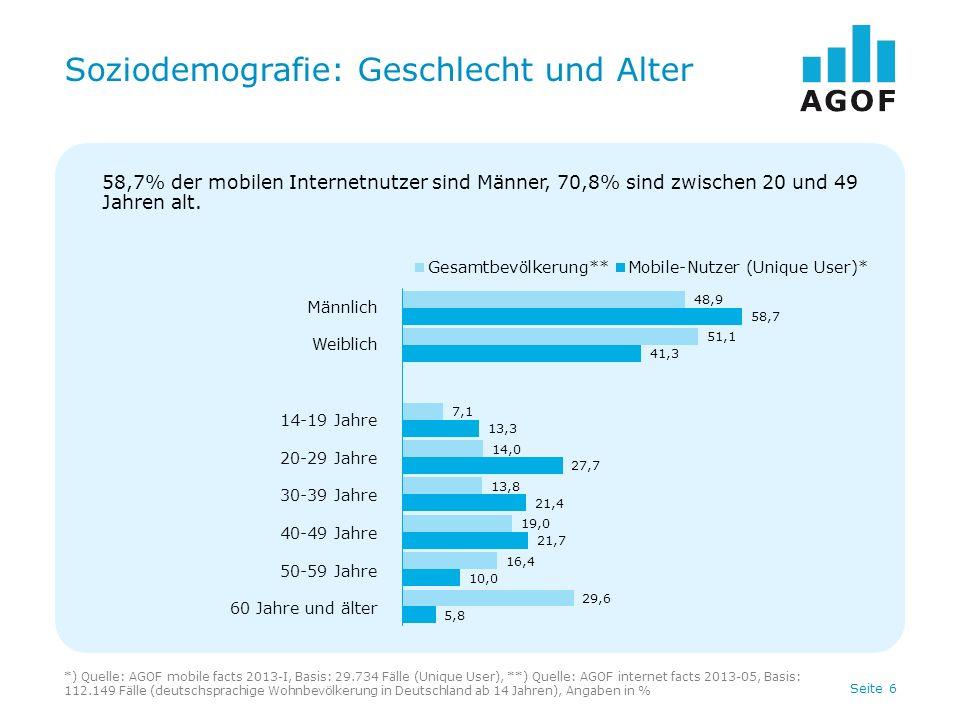 Seite 7 Soziodemografie: Bildung *) Quelle: AGOF mobile facts 2013-I, Basis: 29.734 Fälle (Unique User), **) Quelle: AGOF internet facts 2013-05, Basis: 112.149 Fälle (deutschsprachige Wohnbevölkerung in Deutschland ab 14 Jahren), Angaben in % Höchster Schulabschluss Haupt- bzw.