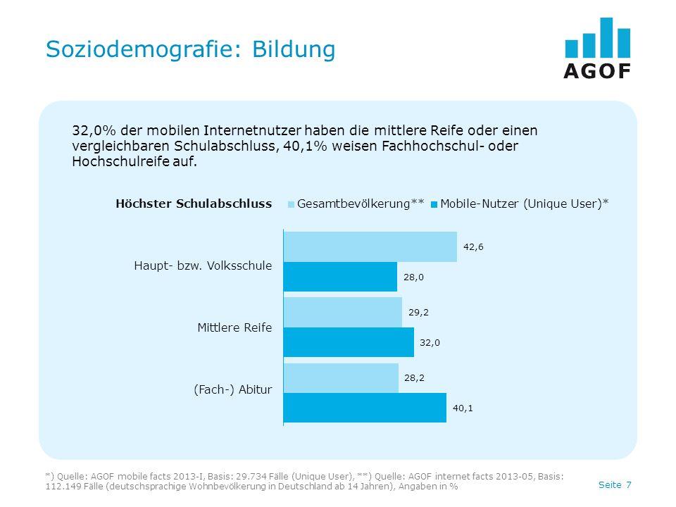 Seite 8 Soziodemografie: Tätigkeit *) Quelle: AGOF mobile facts 2013-I, Basis: 29.734 Fälle (Unique User), **) Quelle: AGOF internet facts 2013-05, Basis: 112.149 Fälle (deutschsprachige Wohnbevölkerung in Deutschland ab 14 Jahren), Angaben in % Tätigkeit In Ausbildung Berufstätig Rentner, Pensionär/Nicht berufstätig 18,5% der mobilen Internetnutzer sind Schüler, Studenten oder befinden sich in der Ausbildung, 70,5% sind berufstätig.
