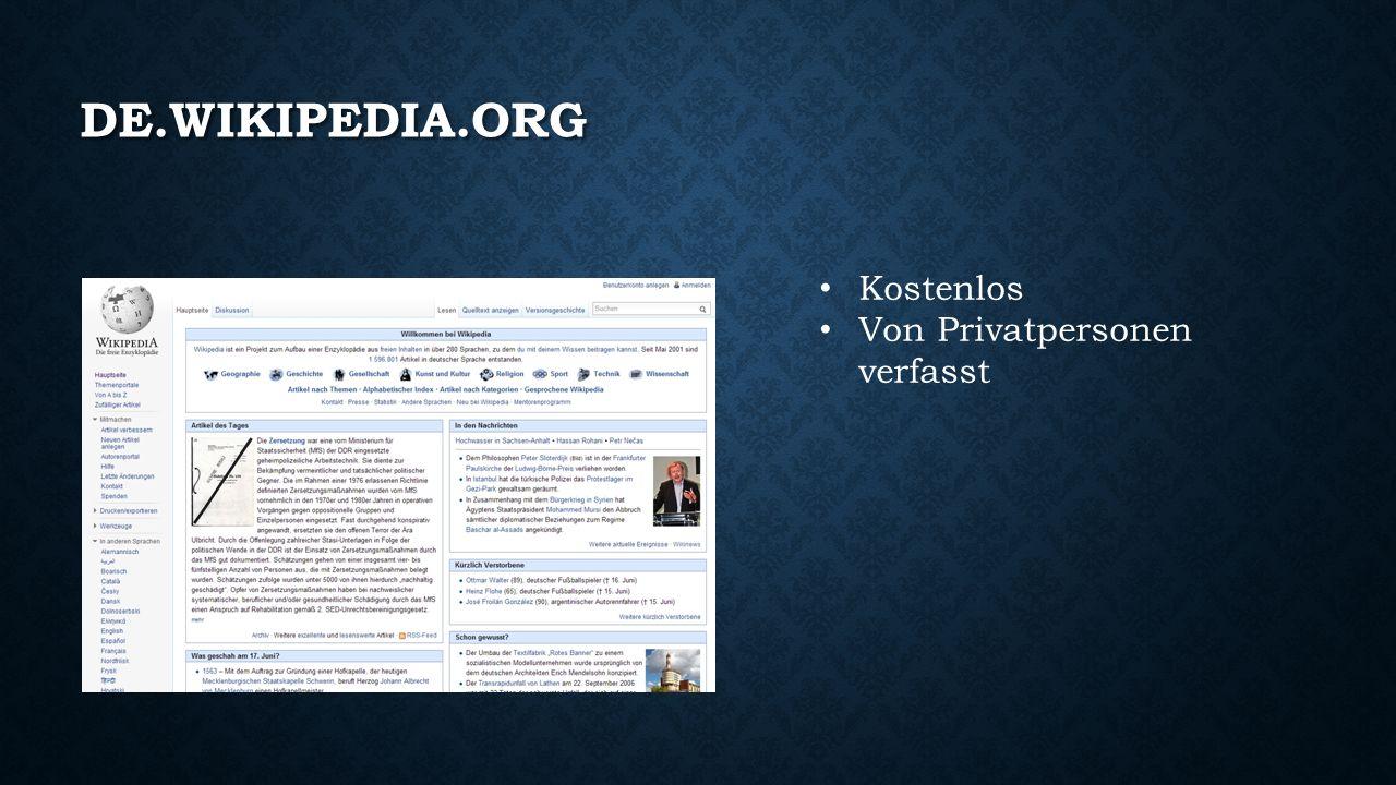 TIPP FÜR GOOGLE-SUCHE Jeder Suchbegriff, der mit Wiki beginnt, liefert als erstes Resultat die passende Wikipedia-Seite.
