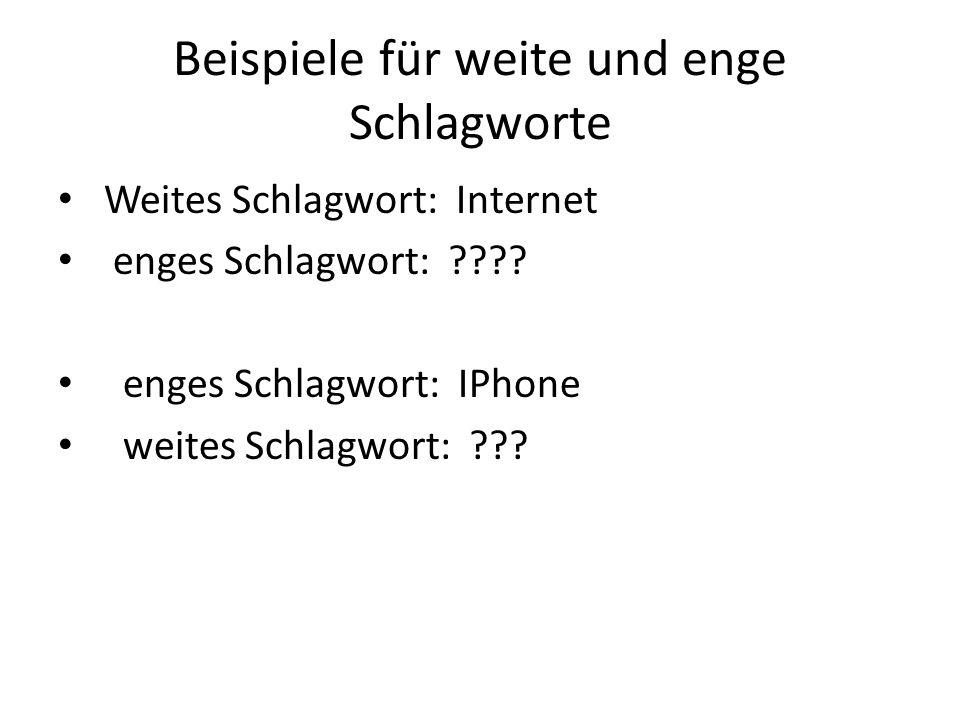 Beispiele für weite und enge Schlagworte Weites Schlagwort: Internet enges Schlagwort: ???? enges Schlagwort: IPhone weites Schlagwort: ???