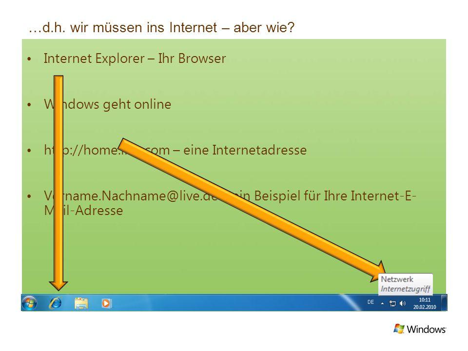 …d.h. wir müssen ins Internet – aber wie? Internet Explorer – Ihr Browser Windows geht online http://home.live.com – eine Internetadresse Vorname.Nach