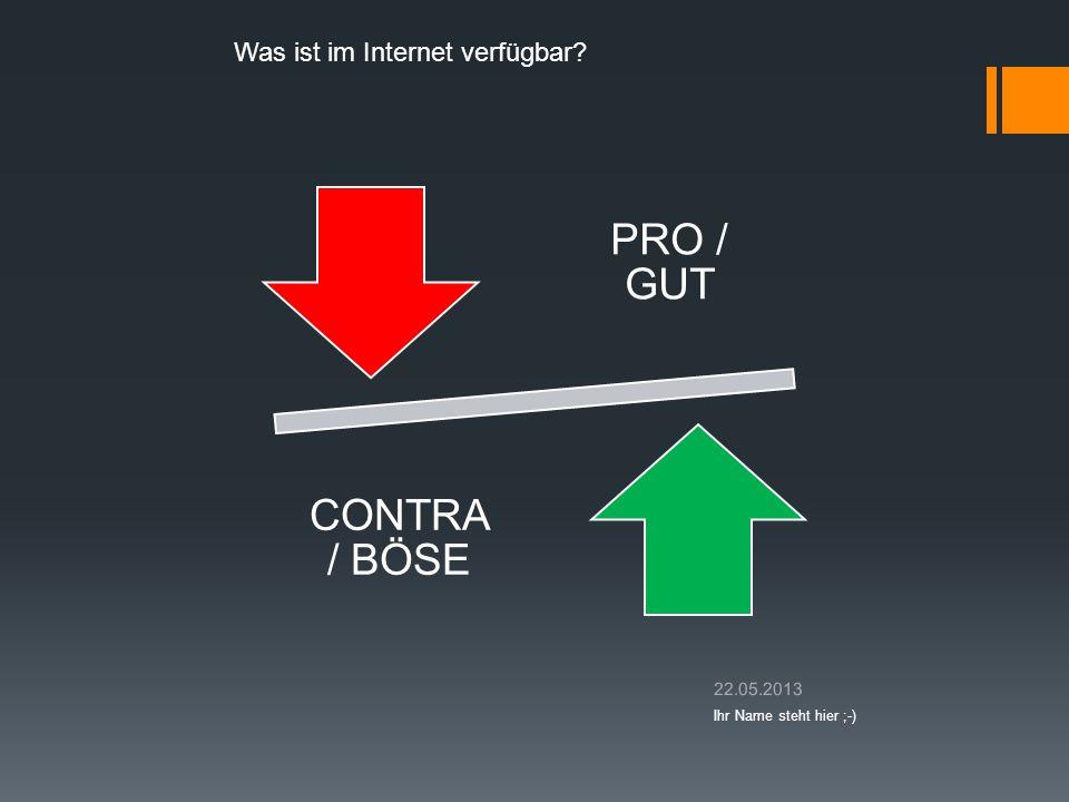 PRO / GUT CONTR A / BÖSE Was ist im Internet verfügbar? 22.05.2013 Ihr Name steht hier ;-)