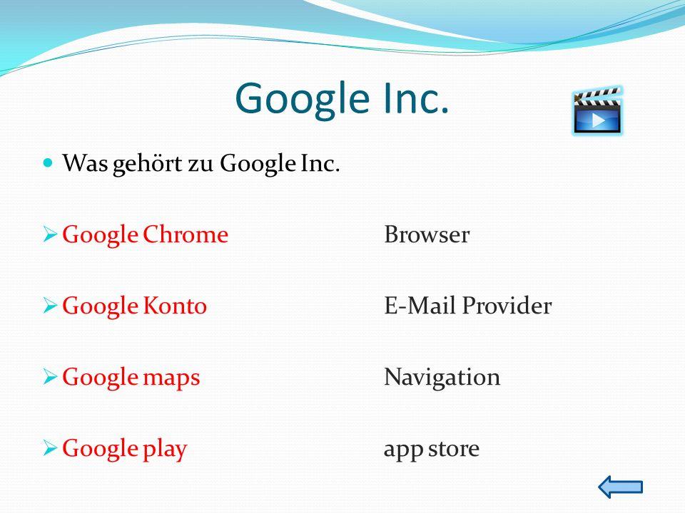 Google Inc. Was gehört zu Google Inc. Google ChromeBrowser Google KontoE-Mail Provider Google mapsNavigation Google playapp store