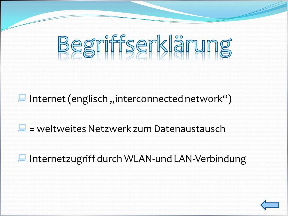 Internet (englisch interconnected network) = weltweites Netzwerk zum Datenaustausch Internetzugriff durch WLAN-und LAN-Verbindung
