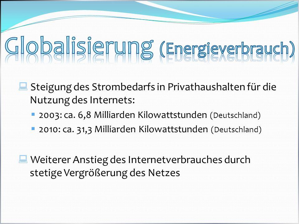 Steigung des Strombedarfs in Privathaushalten für die Nutzung des Internets: 2003: ca. 6,8 Milliarden Kilowattstunden (Deutschland) 2010: ca. 31,3 Mil