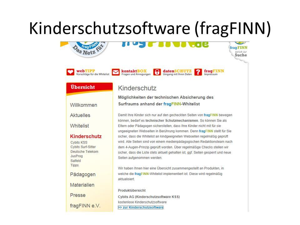 Kinderschutzsoftware (fragFINN)