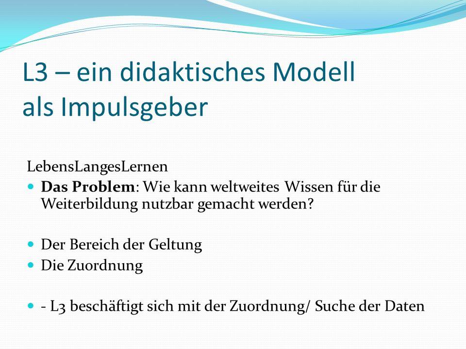 L3 – ein didaktisches Modell als Impulsgeber LebensLangesLernen Das Problem: Wie kann weltweites Wissen für die Weiterbildung nutzbar gemacht werden.