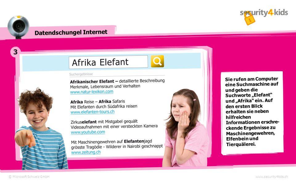 © Microsoft Schweiz GmbHwww.security4kids.ch Datendschungel Internet Sie rufen am Computer eine Suchmaschine auf und geben die Suchworte Elefant und Afrika ein.
