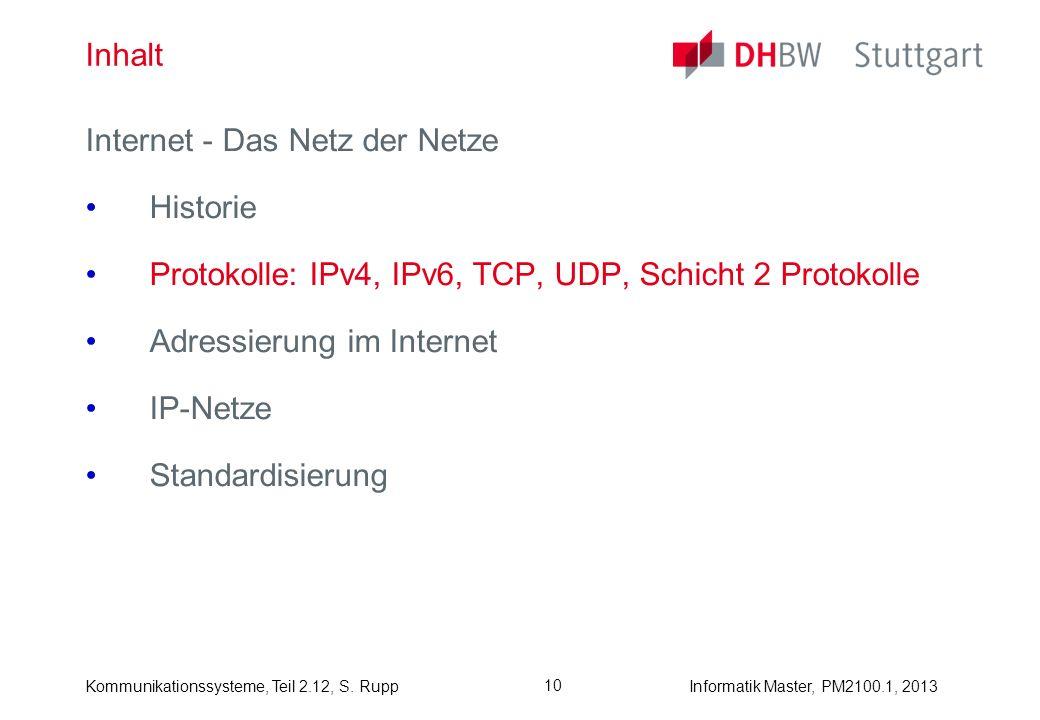 Kommunikationssysteme, Teil 2.12, S. RuppInformatik Master, PM2100.1, 2013 10 Inhalt Internet - Das Netz der Netze Historie Protokolle: IPv4, IPv6, TC