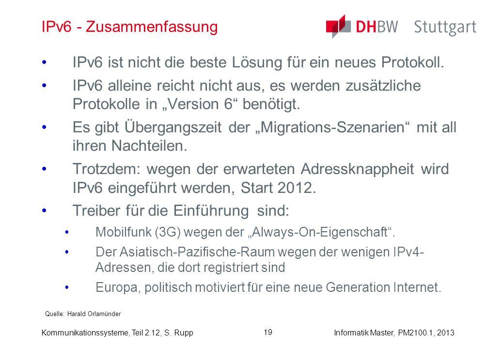 Kommunikationssysteme, Teil 2.12, S. RuppInformatik Master, PM2100.1, 2013 19 IPv6 - Zusammenfassung Quelle: Harald Orlamünder IPv6 ist nicht die best