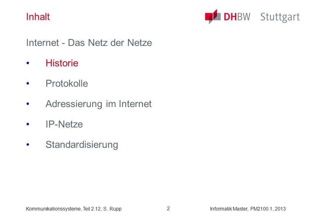 Kommunikationssysteme, Teil 2.12, S. RuppInformatik Master, PM2100.1, 2013 2 Inhalt Internet - Das Netz der Netze Historie Protokolle Adressierung im