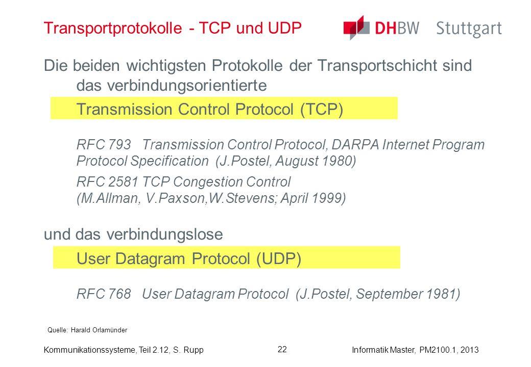 Kommunikationssysteme, Teil 2.12, S. RuppInformatik Master, PM2100.1, 2013 Die beiden wichtigsten Protokolle der Transportschicht sind das verbindungs
