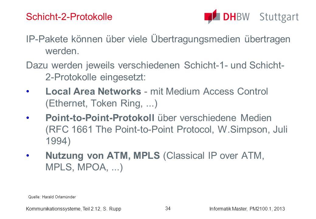 Kommunikationssysteme, Teil 2.12, S. RuppInformatik Master, PM2100.1, 2013 34 Schicht-2-Protokolle Quelle: Harald Orlamünder IP-Pakete können über vie