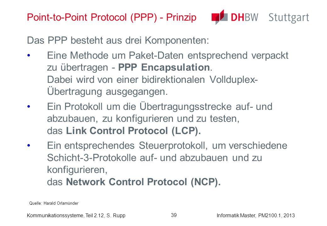 Kommunikationssysteme, Teil 2.12, S. RuppInformatik Master, PM2100.1, 2013 39 Point-to-Point Protocol (PPP) - Prinzip Quelle: Harald Orlamünder Das PP