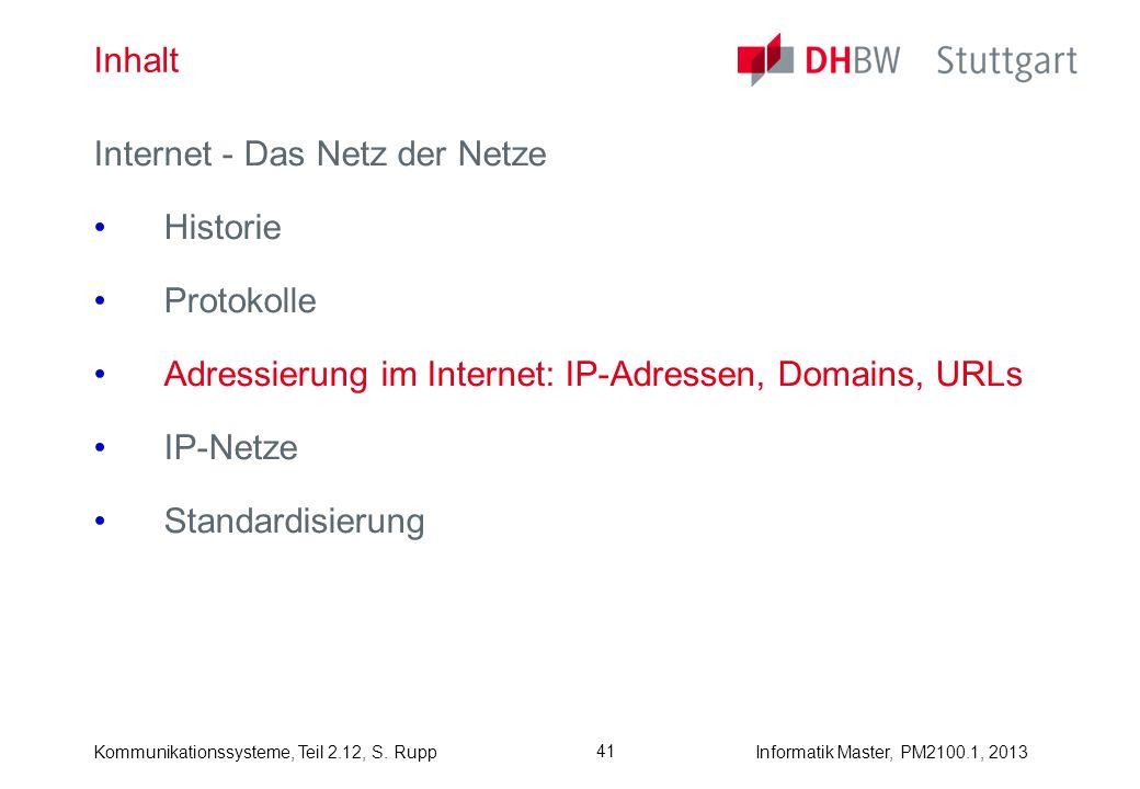 Kommunikationssysteme, Teil 2.12, S. RuppInformatik Master, PM2100.1, 2013 41 Inhalt Internet - Das Netz der Netze Historie Protokolle Adressierung im