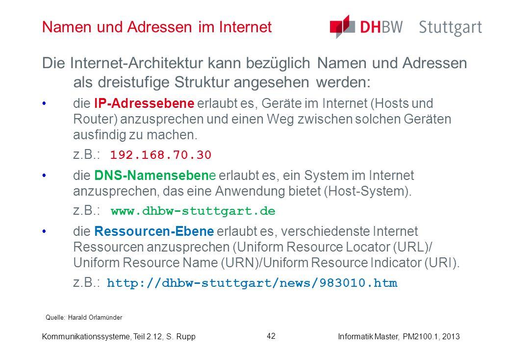 Kommunikationssysteme, Teil 2.12, S. RuppInformatik Master, PM2100.1, 2013 42 Namen und Adressen im Internet Quelle: Harald Orlamünder Die Internet-Ar