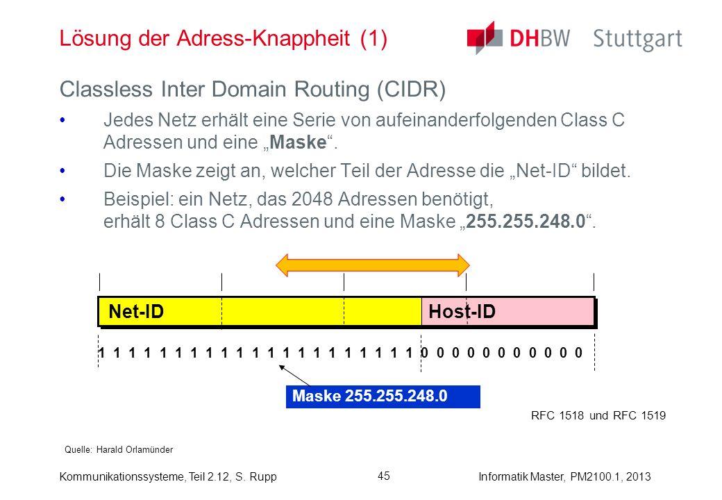 Kommunikationssysteme, Teil 2.12, S. RuppInformatik Master, PM2100.1, 2013 45 Lösung der Adress-Knappheit (1) Quelle: Harald Orlamünder Classless Inte