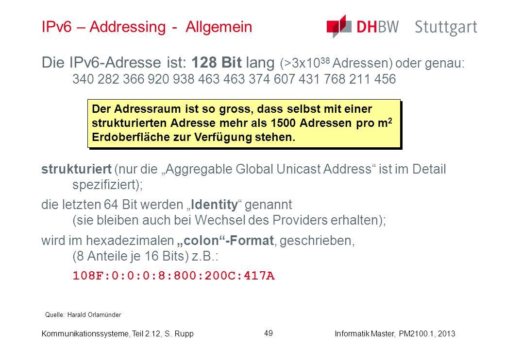 Kommunikationssysteme, Teil 2.12, S. RuppInformatik Master, PM2100.1, 2013 49 IPv6 – Addressing - Allgemein Quelle: Harald Orlamünder Die IPv6-Adresse