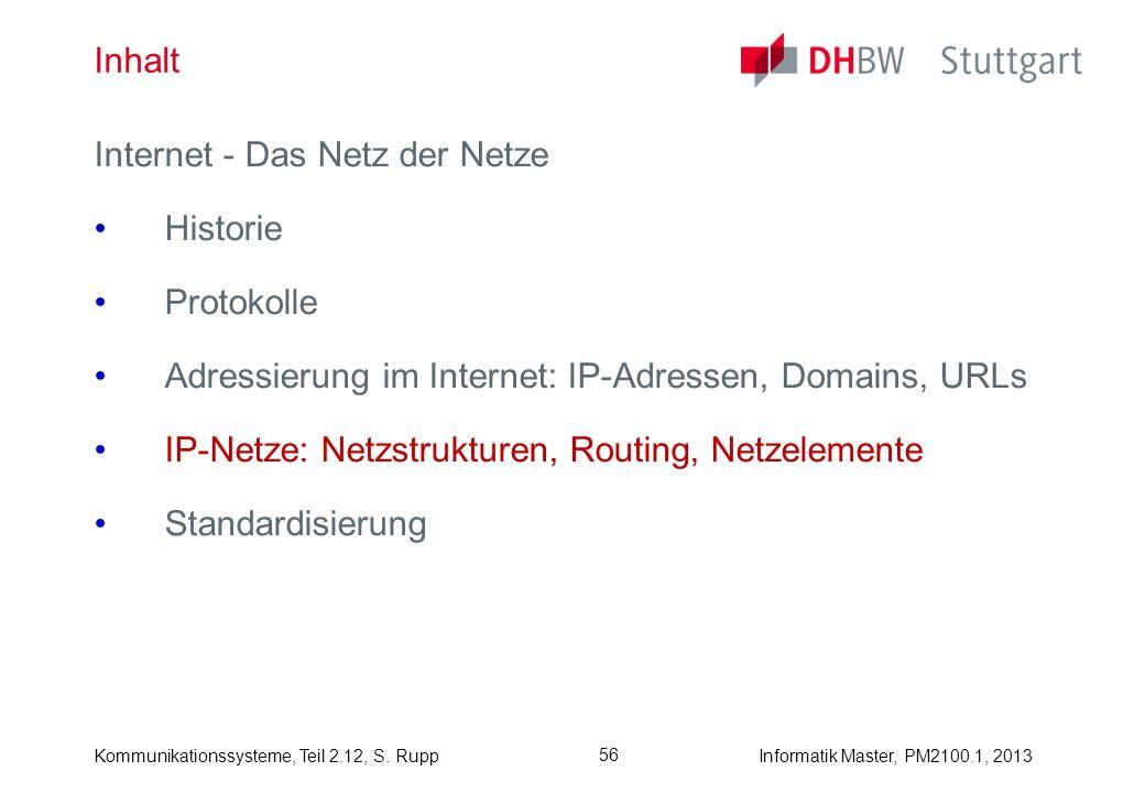 Kommunikationssysteme, Teil 2.12, S. RuppInformatik Master, PM2100.1, 2013 56 Inhalt Internet - Das Netz der Netze Historie Protokolle Adressierung im