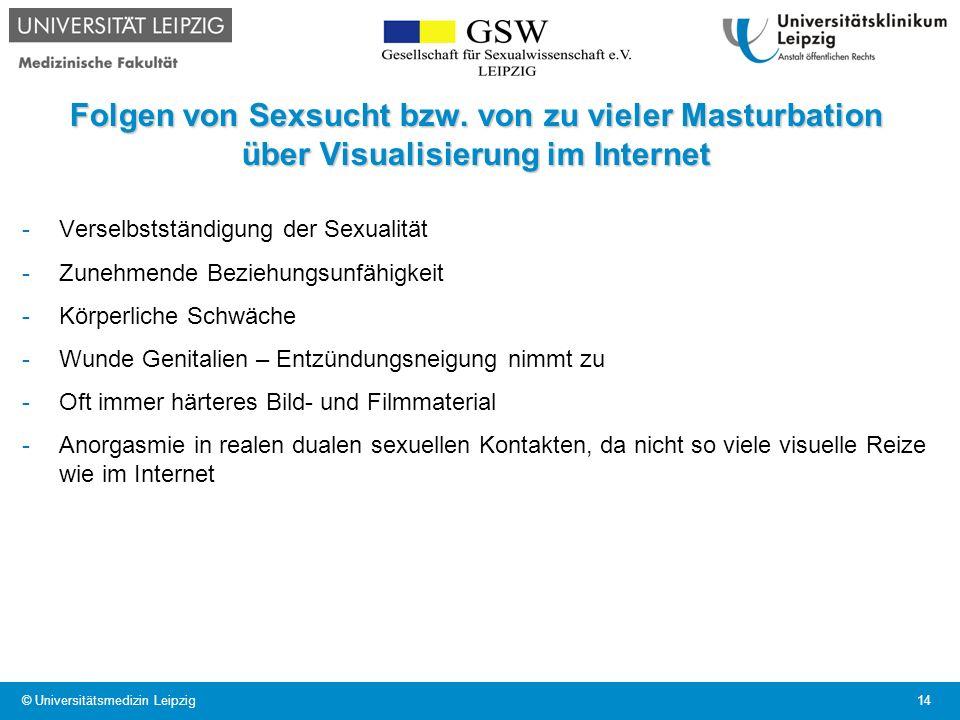 Folgen von Sexsucht bzw. von zu vieler Masturbation über Visualisierung im Internet -Verselbstständigung der Sexualität -Zunehmende Beziehungsunfähigk
